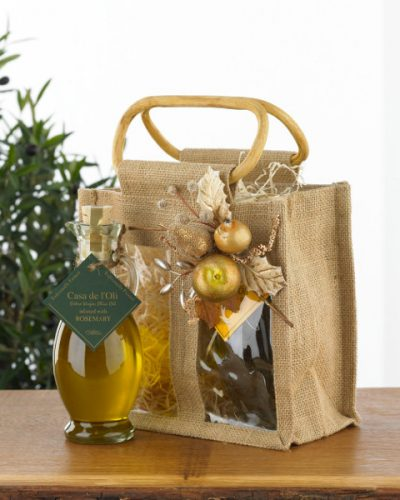 Double Festive Decorated Jute Bag with 2 Flavoured Oils