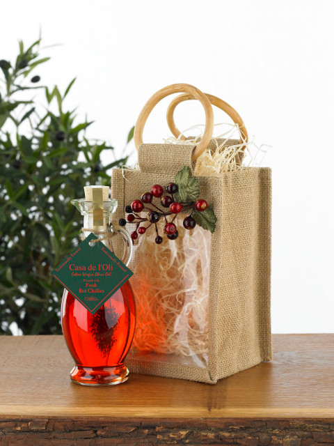 Single Festive Decorated Jute Bag with 1 Flavoured Oil