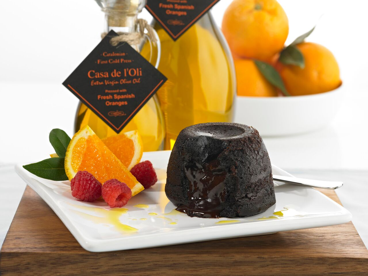 Drizzle Orange Olive Oil over chocolate desserts for rich, delicious & healthy flourish