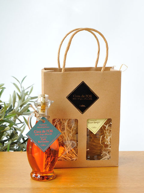 Natural Kraft Paper Bag with 2 Flavoured Oils